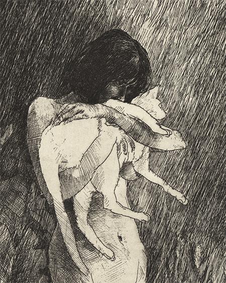 A Mulher e o Gato – Gravura
